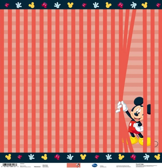 Mickey Mouse Stripes 12x12 Scrapbooking Paper