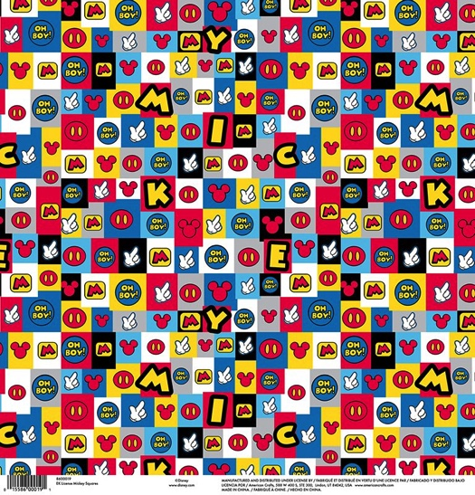 Mickey Mouse Squares 12x12 Scrapbooking Paper