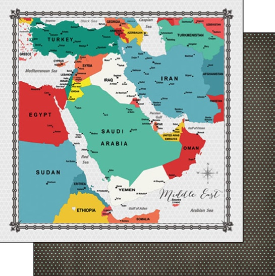 Middle East Memories Map 12x12 Double Sided Scrapbooking Paper