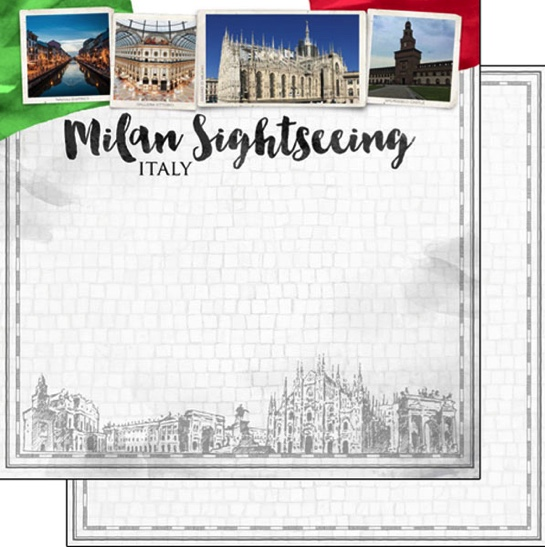 Milan Sightseeing 12x12 Double Sided Scrapbooking Paper
