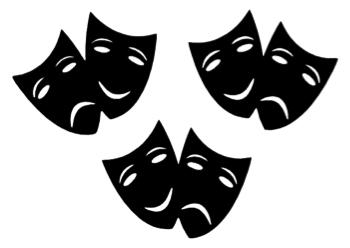 Three Mini Drama Masks Laser Cut Shapes