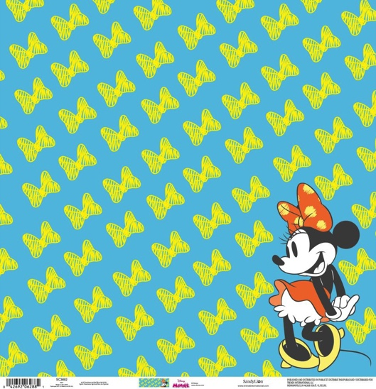 Minnie Mouse Yellow Bows 12x12 Scrapbooking Paper