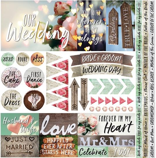 Modern Wedding 12x12 Cardstock Scrapbooking Stickers and Borders