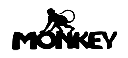 Monkey Scrapbooking Laser Cut Title with Monkey