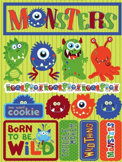 Monsters 3D Scrapbooking Stickers