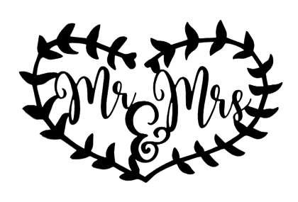 Mr and Mrs Heart Frame Scrapbooking Laser Cut Title