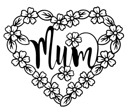 Mum in Flower Frame Intricate Laser Cut