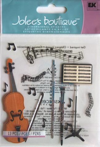 Musical Jolees 3D Scrapbooking Stickers