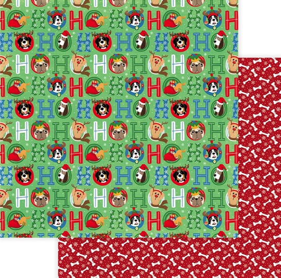 Muttcracker Ho Ho Ho Double Sided 12x12 Scrapbooking Paper