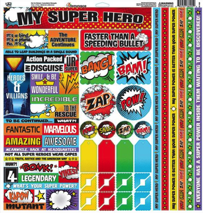 Super Hero Scrapbooking Sticker Sheet