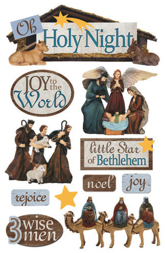 Nativity 3D Glitter Scrapbooking Stickers