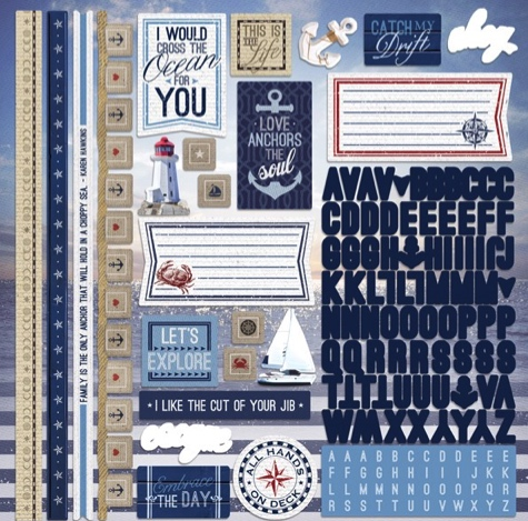 Nautical 12x12 Cardstock Scrapbooking Stickers and Alphabets