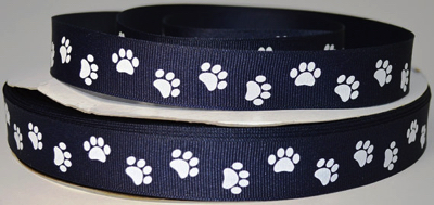 Paw Prints Scrapbooking Ribbon - Navy
