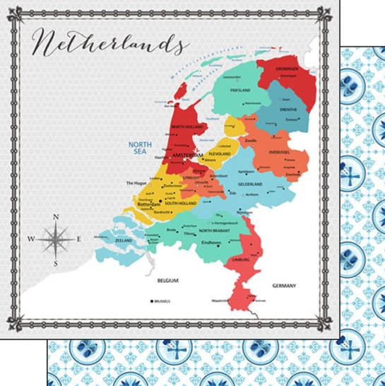 Netherlands Memories Map 12x12 Double Sided Scrapbooking Paper