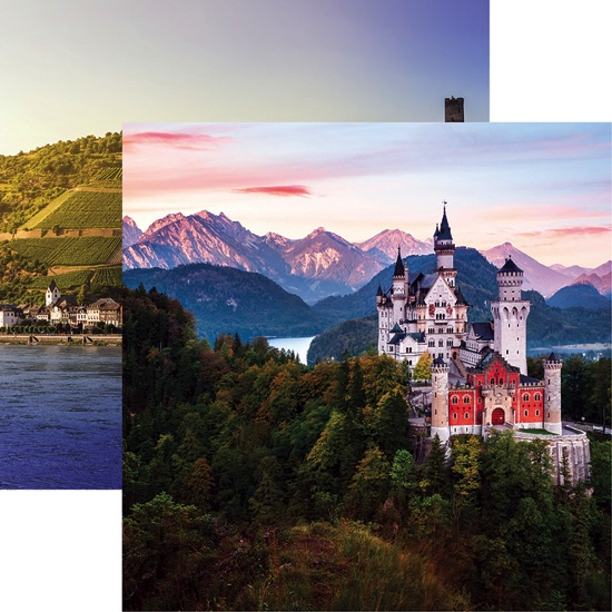 Neuschwanstein Castle 12x12 Double Sided Scrapbooking Paper