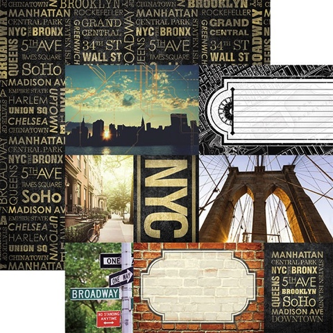 New York City Tags 12x12 Double Sided Scrapbooking Cardstock