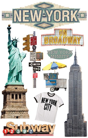 New York 3D Glitter Scrapbooking Stickers