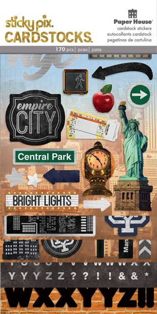 New York Multi Pack Cardstock Scrapbooking Stickers - 5 Sheets