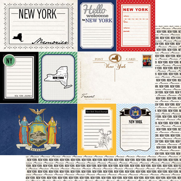 New York Journal 12x12 Double Sided Scrapbooking Paper