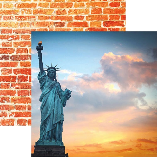 New York Lady Liberty Double Sided 12x12 Scrapbooking Paper