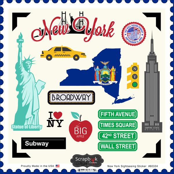 New York Sightseeing 12x12 Scrapbooking Stickers