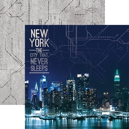 New York Never Sleeps 12x12 Double Sided Scrapbooking Cardstock