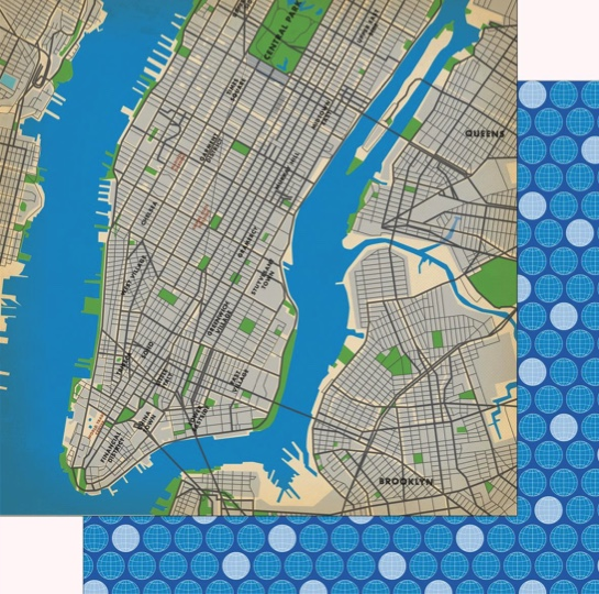 New York Map 12x12 Double Sided Scrapbooking Paper