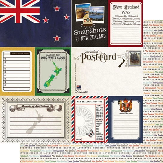 New Zealand Journal 12x12 Double Sided Scrapbooking Paper