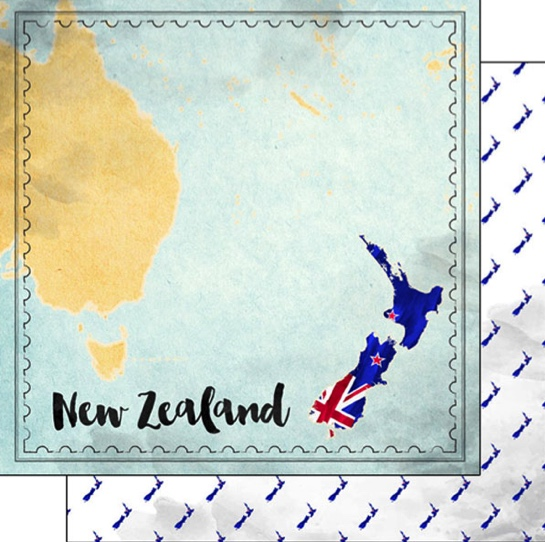 New Zealand Sights Map 12x12 Double Sided Scrapbooking Paper