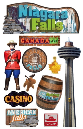 Niagara Falls 3D Glitter Scrapbooking Stickers