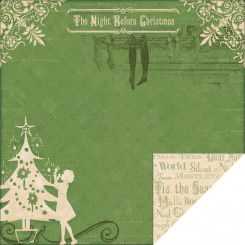 Night Before Christmas Double Sided 12x12 Scrapbooking Paper
