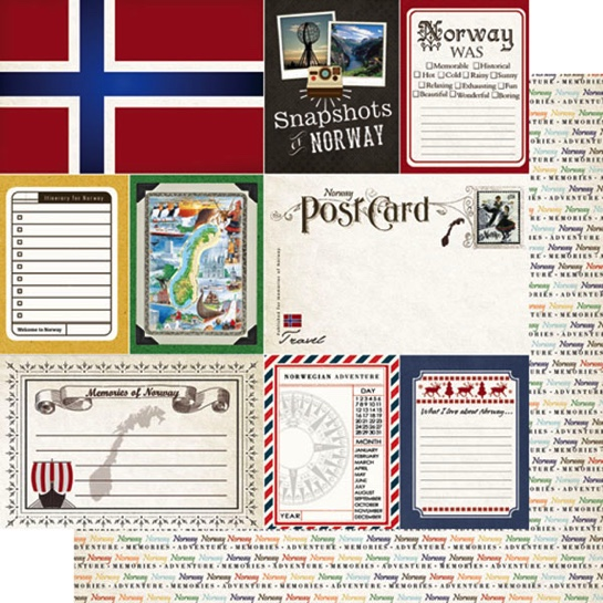 Norway Journal 12x12 Double Sided Scrapbooking Paper