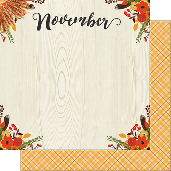 November 12x12 Double Sided Scrapbooking Paper