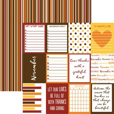 Plan it November 12x12 Double Sided Scrapbooking Paper