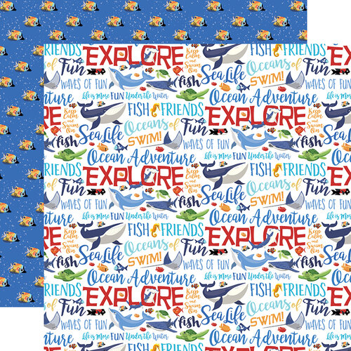 Ocean Words Double Sided 12x12 Scrapbooking Paper