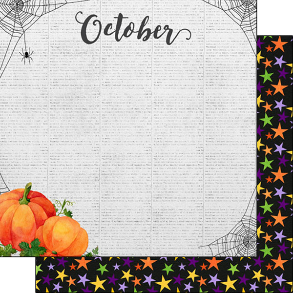 October 12x12 Double Sided Scrapbooking Paper