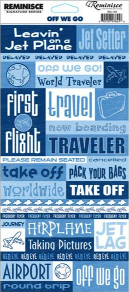 Off We Go Travel Quote Cardstock Scrapbooking Stickers