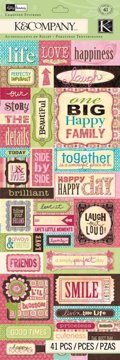 Blossom Words Embossed Scrapbooking Stickers
