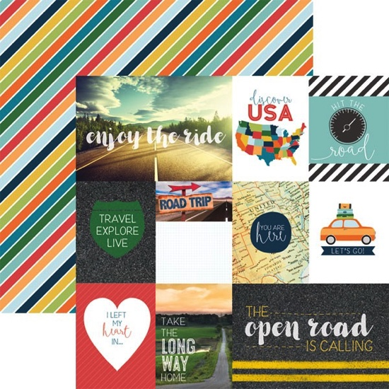 Open Road Tags Double Sided 12x12 Scrapbooking Paper