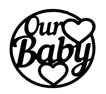 Our Baby Scrapbooking Laser Cut Title with Hearts
