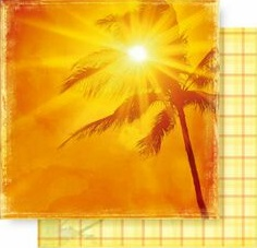 Palm Sunset 12x12 Double Sided Glittered Scrapbooking Cardstock