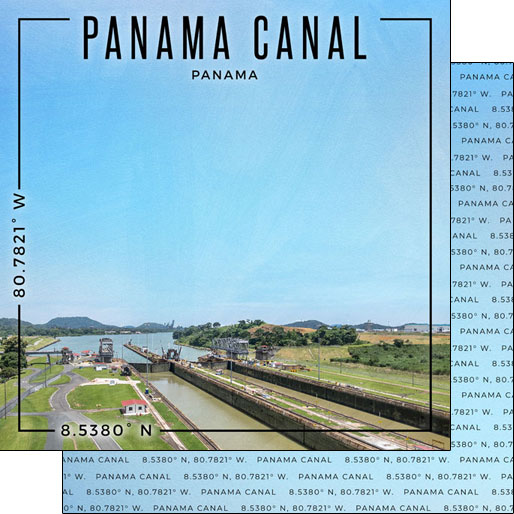 Panama Canal 12x12 Double Sided Scrapbooking Paper