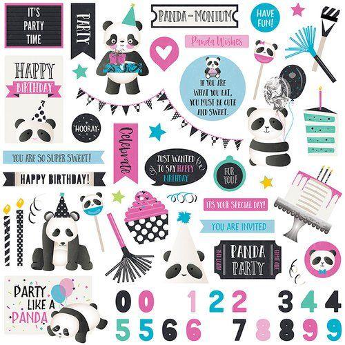 Panda Party 12x12 Cardstock Scrapbooking Stickers
