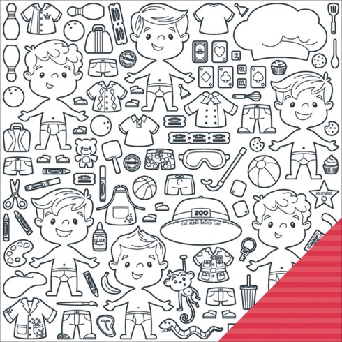 Family Fun Paper Dolls 12x12 Double Sided Scrapbooking Paper Boys