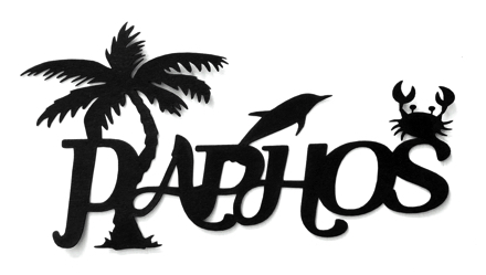Paphos Scrapbooking Laser Cut Title with Palm Dolphin Crab
