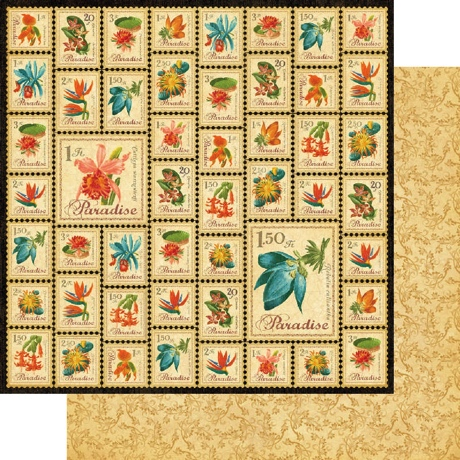 Paradise Postage Double Sided 12x12 Scrapbooking Paper