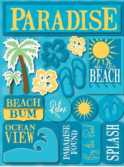 Paradise Blue 3D Scrapbooking Stickers