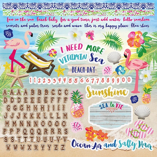 Paradise Found  12x12 Cardstock Scrapbooking Stickers and Borders