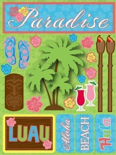Paradise Green 3D Scrapbooking Stickers