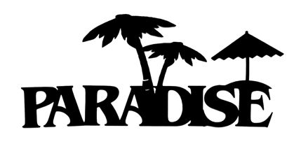 Paradise Scrapbooking Laser Cut Title with Parasol and Palm Trees